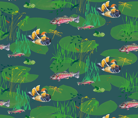 Emerald Serenity fabric by freudenwerkstatt on Spoonflower - custom fabric