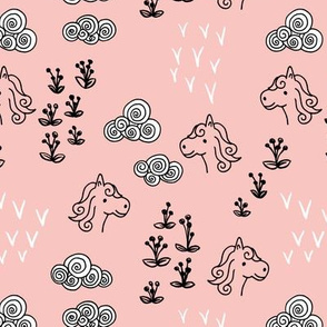 Cool clouds and horses flowers illustration design pastel pink