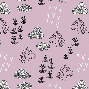 Cool clouds and horses flowers illustration design pastel violet
