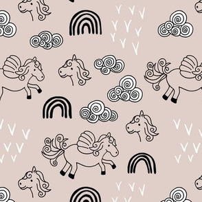 Cool clouds rainbows and horses flowers pegasus illustration design pastel sand