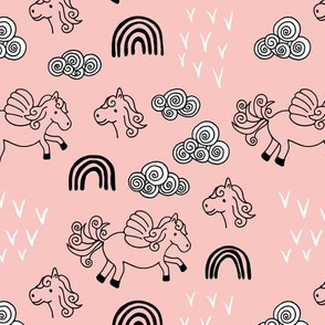 Cool clouds rainbows and horses flowers pegasus illustration design pastel pink