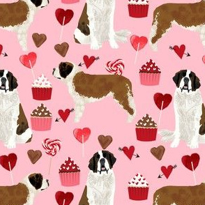 saint bernard valentines day cupcakes hearts dog breed pure breed fabric pink