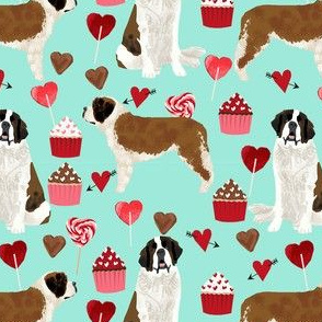 saint bernard valentines day cupcakes hearts dog breed pure breed fabric mint
