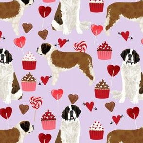 saint bernard valentines day cupcakes hearts dog breed pure breed fabric purple