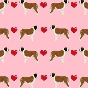 saint bernard hearts love dog breed pure breed fabric pink