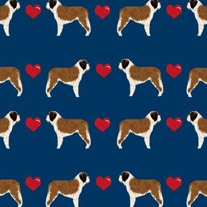 saint bernard hearts love dog breed pure breed fabric navy