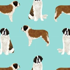 saint bernard simple dog breed pure breed fabric light blue