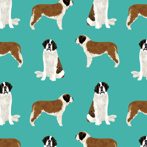 saint bernard simple dog breed pure breed fabric turquoise fabric by petfriendly on Spoonflower - custom fabric