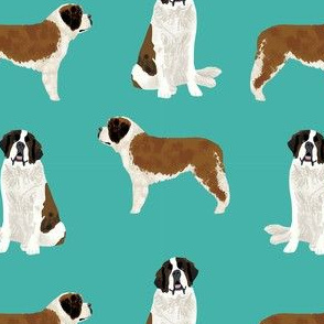 saint bernard simple dog breed pure breed fabric turquoise