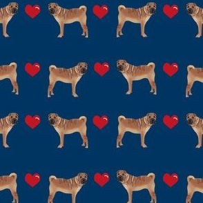 sharpei love hearts dog breed pure breed fabric navy
