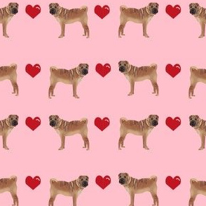 sharpei love hearts dog breed pure breed fabric pink
