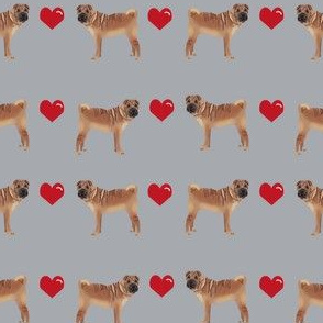 sharpei love hearts dog breed pure breed fabric grey