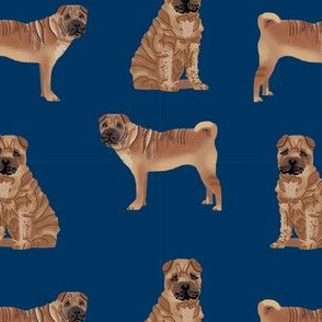 sharpei valentines cupcakes dog breed pure breed fabric navy