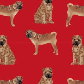 sharpei valentines cupcakes dog breed pure breed fabric red
