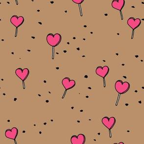Poppy lollipop valentine hearts love candy modern trendy kaki pink