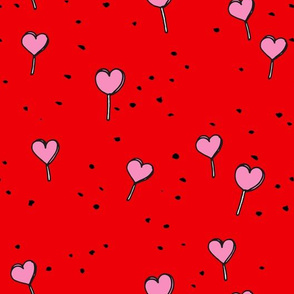 Poppy lollipop valentine hearts love candy hot red and pink