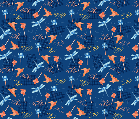Origami Blue fabric by victoriabrand on Spoonflower - custom fabric