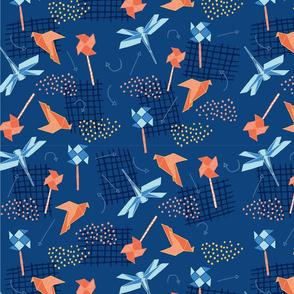 Origami Blue Motifs