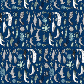 ocean animals // navy mint and grey summer nautical fabric ocean whales octopus railroads