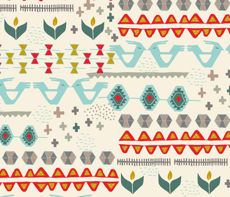 Kilim in cream fabric by victoriabrand on Spoonflower - custom fabric