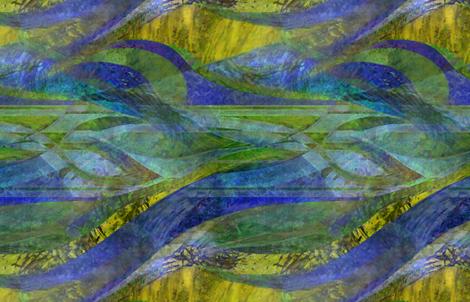 Pillar of fire- landscape blue yellow fabric by wren_leyland on Spoonflower - custom fabric