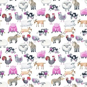 "Watercolor Farm Animals 4"""