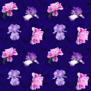Pink Peony Lavender Iris on Blue Swirl