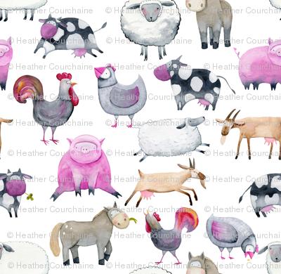 "Watercolor Farm Animals 12"""