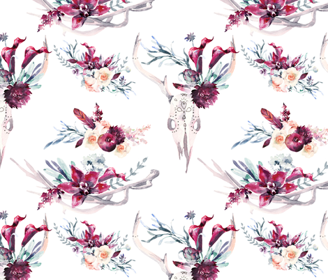 """Boho Floral and Antlers 12"""" fabric by greenmountainfabric on Spoonflower - custom fabric"""