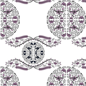 Circle Orchid and Navy Floral Design