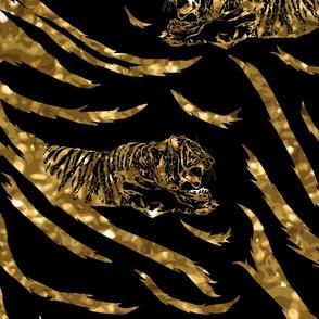 Tribal Tiger stripes print - faux golden glitter large