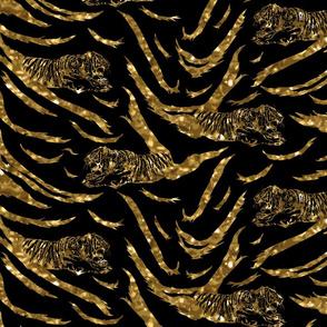 Tribal Tiger stripes print - faux golden glitter medium
