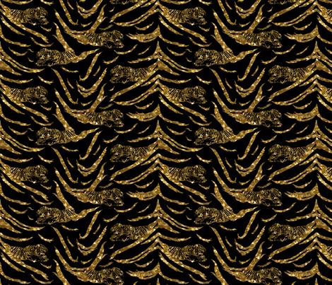 Tribal Tiger stripes print - faux golden glitter small fabric by rusticcorgi on Spoonflower - custom fabric