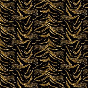 Tribal Tiger stripes print - faux golden glitter small