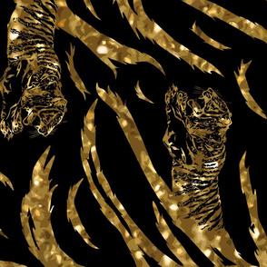 Tribal Tiger stripes print - vertical faux golden glitter large