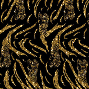 Tribal Tiger stripes print - vertical faux golden glitter medium