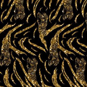 Tribal Tiger stripes print - vertical faux golden glitter medium