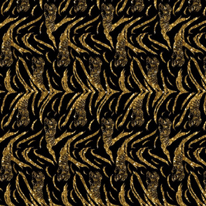 Tribal Tiger stripes print - vertical faux golden glitter small