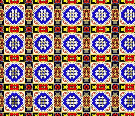 Spanish Tile Motif fabric by elramsay on Spoonflower - custom fabric