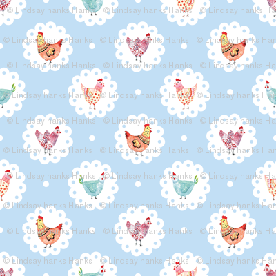Chicken Doily Blue Polka Dots Hens