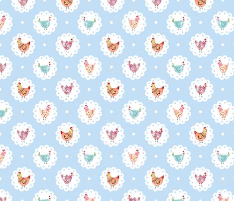 Chicken Doily Blue Polka Dots Hens fabric by twodreamsshop on Spoonflower - custom fabric
