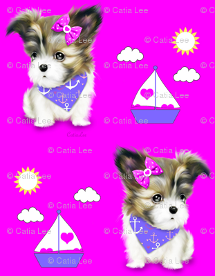 Mi-ki puppy Nautical Magenta M