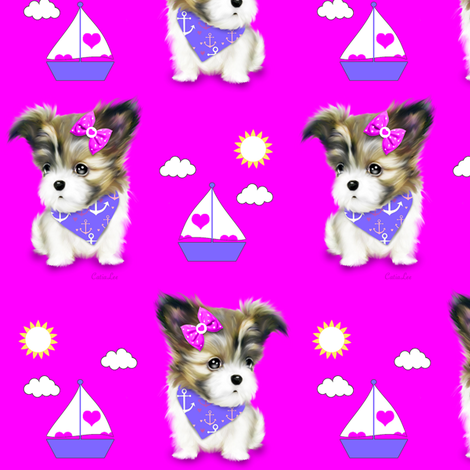 Mi-ki puppy Nautical Magenta M fabric by catialee on Spoonflower - custom fabric