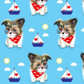 Mi-ki puppy Nautical RedBlue M