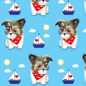 Mi-ki puppy Nautical RedBlue M
