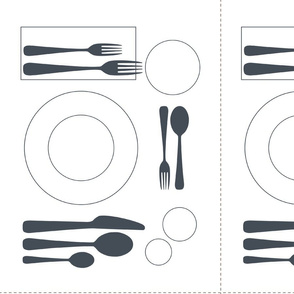 placemat formal tablesetting_grey on white