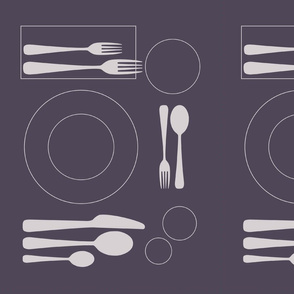placemat formal tablesetting_silver on aubergine