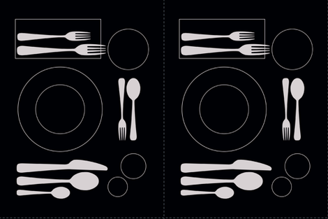 placemat formal tablesetting_silver on black fabric by zen_studio on Spoonflower - custom fabric