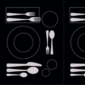 placemat formal tablesetting_silver on black