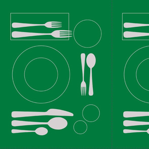 placemat formal tablesetting_silver on bright green